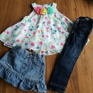 🛑SALE🛑 Girls 2t flower top skirt & pants bundle